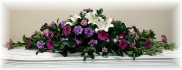 Purple and White Double Ended Casket Flowers