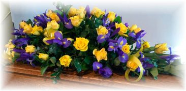 Purple Irises and Yellow Roses Funeral Floral Arrangement