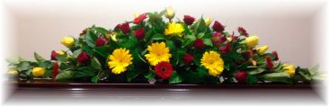 Yellow & Red Gerberas, Red Roses Funeral Floral Arrangement