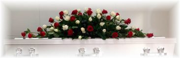 Red and White Funeral Floral Arrangement