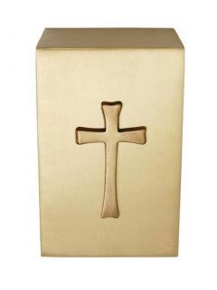 Brass Cube Urn, Adult $350