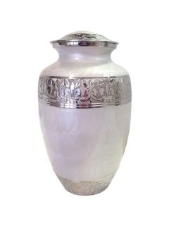 Double Companion Urn White Enamel and Nickel $600 -Holds ashes of two adults