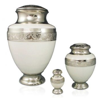 Elegant White Urn Adult $350, Medium $200, Keepsake $120