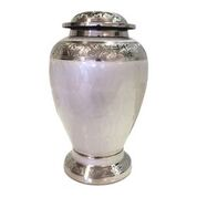 Embassy White and Silver Urn Adult $350