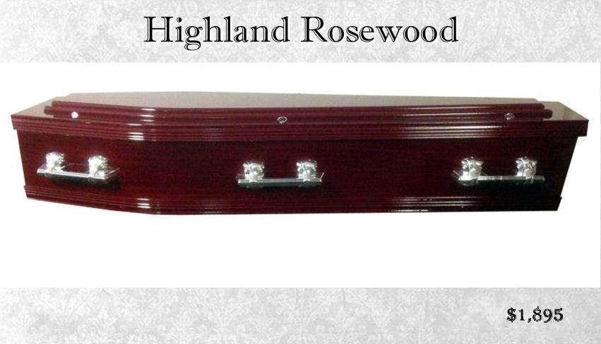 Double Raised Lid Coffin Highland Rosewood
