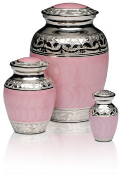 Pink Enamel and Nickel Urn, Medium Urn $200, Small Urn $150, Keepsake Urn $120.