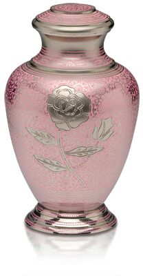 Pink Rose Urn, Adult Urn $350, Keepsake Urn $120.