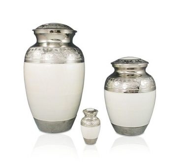 White Enamel and Nickel Urn Adult $350, Medium $200, Keepsake $120