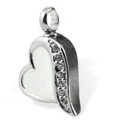 White and SIlver Love Heart Pendant $95