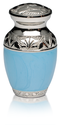 Blue Enamel and Nickel Keepsake Urn $120