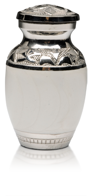 White Enamel and Nickel Keepsake Urn $120