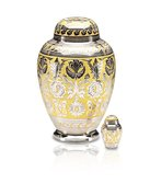 Silver and Gold Adult Urn $350, Keepsake Urn $120